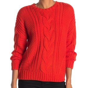 One A Mixed Knit Crew Neck Sweater Riot Orange